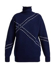 Raf Simons Stitched High Neck Wool Sweater Navy White