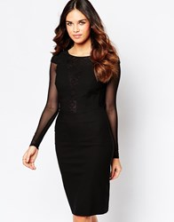 Hybrid Haeley Dress With Messh Sleeves And Lace Back Detail Black