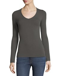Majestic Soft Touch Long Sleeve V Neck Tee Militaire