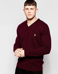 Lyle And Scott Lambswool V Neck Jumper Red