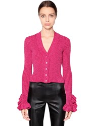 Marco De Vincenzo Cotton And Lurex Knit Cardigan W Crystals Fuchsia