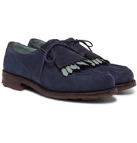J.M. Weston Leather Trimmed Suede Kiltie Derby Shoes Blue