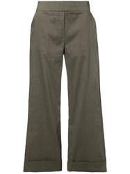 D.Exterior Cropped Wide Leg Trousers Grey