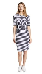 Three Dots Nantucket Stripe Dress White Navy