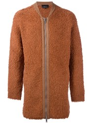 3.1 Phillip Lim Faux Fur Zip Cardigan Yellow Orange