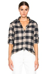Iro . Jeans Donella Top In Neutrals Checkered And Plaid Gray