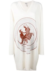 Loewe Embroidered Long Knitted Top Women Cotton Xs White