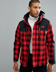 Jack Wolfskin Timberwolf 3 In 1 Jacket In Red Check 7989 Ruby Red Check