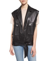 Helmut Lang Oversized Leather Snap Front Vest Black