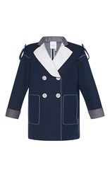 Agnona Drill Bicolored Pea Coat Blue