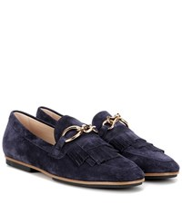 Tod's Embellished Suede Loafers Blue