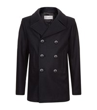 Saint Laurent Double Breasted Peacoat Male Black