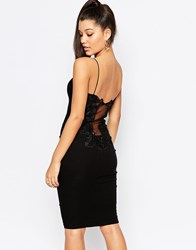 Rare London Lace Back Midi Dress Black