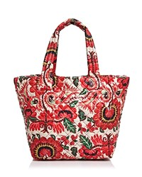 M Z Wallace Mz Metro Floral Print Medium Tote Tulum Oxford Red Silver