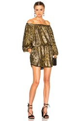 Rachel Comey Smokey Romper In Metallics Yellow Metallics Yellow