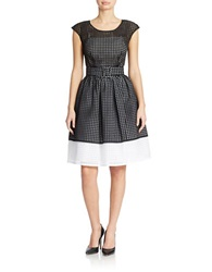 Chetta B Belted Windowpane Fit And Flare Dress Black Cloud