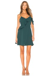 J.O.A. Double Ruffle Fit And Flare Dress In Green