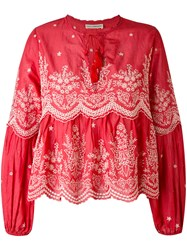 Ulla Johnson Scalloped Embroidery Blouse Women Cotton 2 Red