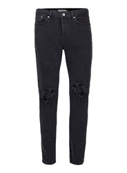 Topman Black Extreme Ripped Stretch Tapered Fit Jeans