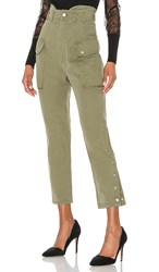Marissa Webb Belle Herringbone Canvas Pant In Army. Military Green
