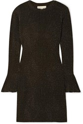 Michael Michael Kors Ribbed Lurex Mini Dress Black
