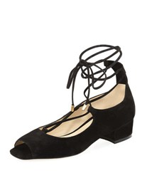 Etienne Aigner Emmie Lace Up Open Toe Suede Sandal Black