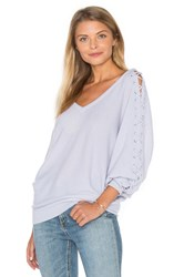 Autumn Cashmere Double V Laced Dolman Sweater Baby Blue