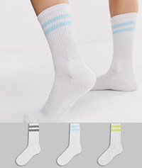 French Connection Sports Stripe 3 Pack Socks In Pastel Multi White