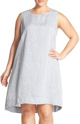 Plus Size Women's Eileen Fisher Handkerchief Linen Round Neck Shift Dress