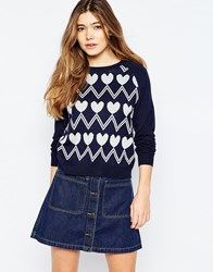 Sugarhill Boutique Heart Zig Zag Jumper Navy