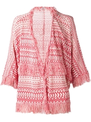 Loewe Knitted Fringed Poncho Red