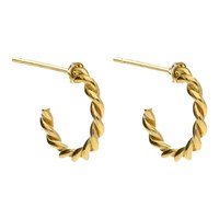 London Road 9Ct Gold Twisted Rope Half Hoop Earrings