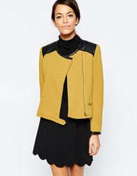 Traffic People Zip It Jacket In Quilted Fabric Yellow