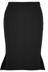 Roland Mouret Nash Fluted Wool Crepe Skirt Black