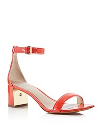 Tory Burch Cecile Ankle Strap Mid Heel Sandals Pepper Red