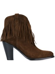 Saint Laurent 'Curtis' Fringe Ankle Boots Brown
