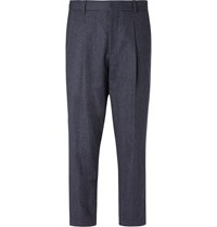Mr P. Navy Pleated Prince Of Wales Checked Wool And Cotton Blend Trousers Blue
