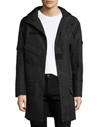 Alexander Wang Textured Camo Print Hooded Military Jacket Green