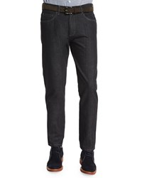 Ermenegildo Zegna Cotton Silk Five Pocket Denim Jeans Black