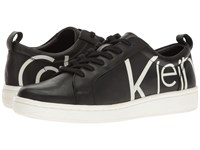 Calvin Klein Danya Black White Logo Print Leather Women's Shoes