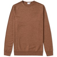 Sunspel Crew Knit Jumper Brown