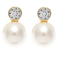 Finesse Pearl And Crystal Earrings Gold