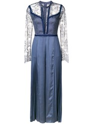 Three Floor Retrospect Pleat And Lace Jumpsuit Polyamide Polyester Blue