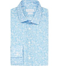 Richard James Contemporary Fit Floral Print Cotton Shirt Aqua