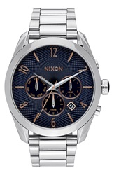Nixon 'Bullet' Extra Large Chronograph Bracelet Watch 32Mm Nordstrom Online Exclusive Silver Navy