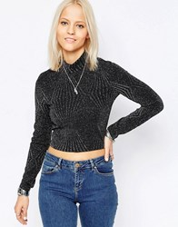 Only High Neck Crop Top Black