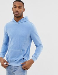 Bershka Velour Hoodie In Light Blue With Piping On Sleeve Light Blue