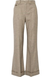 Chloe Houndstooth Stretch Wool Flared Pants Brown