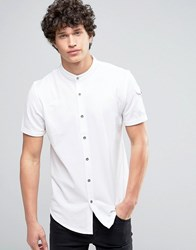 Brave Soul Grandad Collar Pocket Polo Shirt Optic White