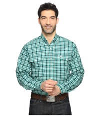 Cinch Long Sleeve Plain Weave Double Print Green Men's Long Sleeve Button Up